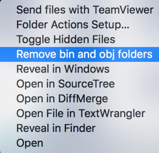 Remove obj and bin folders via OS X Finder